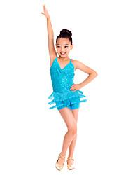 cheap -Latin Dance Dresses Women's Children's Training Spandex Sequined Sequin Tassel Sleeveless Natural