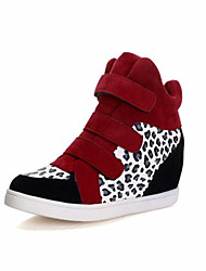 Women's Spring Summer Fall Winter Leatherette Outdoor Casual Wedge Heel Magic Tape Split Joint Black Red