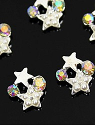 10pcs   White Two Star Linked With Pearl 3D Rhinestone DIY Accessories Nail Art Decoration