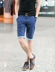 Men's Solid Casual Shorts,Cotton / Organic Cotton Black / Blue / Brown / Green / Pink / Red / Yellow / Tan
