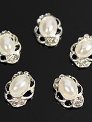 cheap -10pcs Vintage Design Oval Pearl Beads 3D Rhinestones Alloy Nail Art Decoration