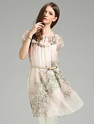 cheap -Women's Going out Above Knee Dress Print Short Sleeves