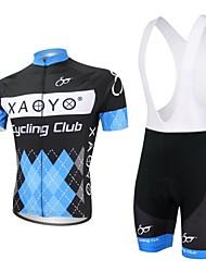 levne -XAOYO Pánské Krátký rukáv Cyklodres a kraťasy se šlemi - Modrá Jezdit na kole Sady oblečení, Rychleschnoucí, Prodyšné