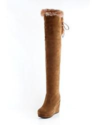 Damen Schuhe Pelz Frühling Herbst Winter Keilabsatz Übers Knie Reißverschluss Schnürsenkel Für Kleid Schwarz Rot Gelb