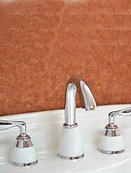 economico -finitura cromata contemporanea tre fori due maniglie diffuso bagno rubinetto lavabo