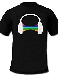 cheap -LED T-shirts Sound activated LED lights Cotton Novelty 2 AAA Batteries