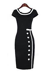 manches courtes carré robe de midi moulante de femmes avec des boutons