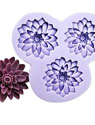 três furos flores molde de silicone barro de resina bolo fondant de chocolate, l10.5m * W10cm * h1.8cm