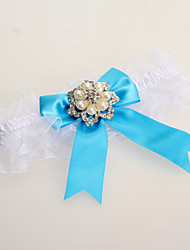 cheap -Garter Lace Bowknot Imitation Pearl Blue Wedding Accessories Beautiful