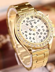 cheap -Women's Quartz Wrist Watch Hot Sale Stainless Steel Band Leopard Fashion Gold