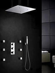 abordables -Grifo de ducha - Moderno Cromo Colocado en la Pared Válvula Latón / Tres manijas cinco hoyos