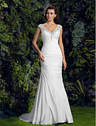 cheap -Mermaid / Trumpet V-neck Court Train Charmeuse Wedding Dress with Beading Appliques Button by LAN TING BRIDE®