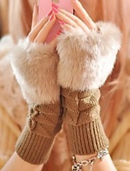 Women's Plaid Short Paragraph Warm Knitted Gloves