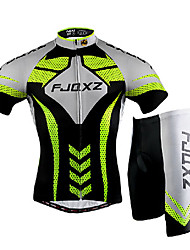 cheap -FJQXZ Men's Short Sleeves Cycling Jersey with Shorts - Silver/Black Bike Clothing Suits, Quick Dry, Ultraviolet Resistant, Breathable, 3D