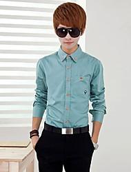 Masculino Camisa Casual / Escritório / Formal Estampado / Cor Solida Manga Comprida
