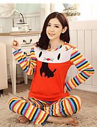 doppio fumetto in maglia di cotone gatto vestito per il tempo libero a maniche lunghe delle donne