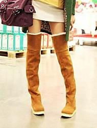Women's Synthetic Winter Casual Flat Heel Black Brown Yellow Under 1in