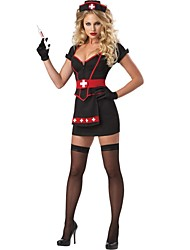 cheap -Uniforms Cosplay Costume Women's Halloween Festival / Holiday Halloween Costumes Red/black Patchwork Hospital Services Uniforms