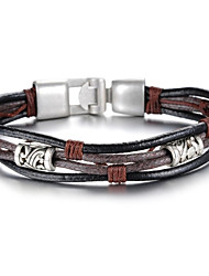 cheap -Fashion Leather Gothic Style Beatles Stainless Steel Bracelet (1 Pc) Christmas Gifts