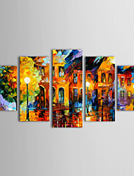 cheap -IARTS®Oil Paintings Set of 5 Modern Abstract Landscape in the Rain Hand-painted Canvas Ready to Hang
