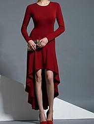 rodada vestido de manga longa assimétrica das mulheres