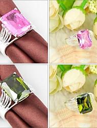 cheap -Newet Peridot Pink Kunzite Gemstone Silver Ring 1PC Elegant Style