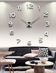 "economico -39""W DIY 3D Mirror Numbers Acrylic Sticker Wall Clock"