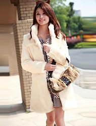 mode casual pur fourrure couleur imitation long manteau chaud de femmes