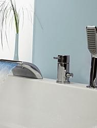 preiswerte -Zeitgenössisch Badewanne & Dusche LED / Wasserfall / Handdusche inklusive with  Keramisches Ventil Einhand Drei Löcher for  Chrom ,