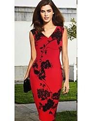 Недорогие -рукавов V-образным вырезом цветок печати-футляр тонкие платья Монта женские