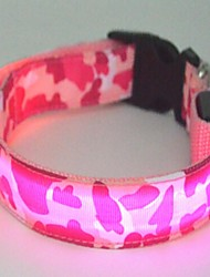 Dog Collar LED Lights Nylon Yellow Green Blue Pink