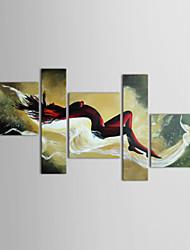 Недорогие -Ручная роспись Люди Любые формы холст Hang-роспись маслом Украшение дома 5 панелей