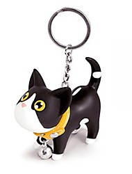 cheap -Lovely Silicone Small Black & White Cat KeyChain