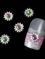 cheap -10pcs Colorfull Stone Round Alloy With Gear DIY Nail Art Decoration