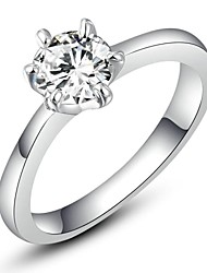 cheap -0.5CT 6 Prongs Hearts & Arrows Ideal Cut Swiss Cubic Zirconia Diamond Halo Engagement Ring