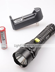 cheap -LED Flashlights / Torch LED 1500 lm 5 Mode Cree XM-L2 T6 with Battery and Charger Waterproof Camping/Hiking/Caving Everyday Use