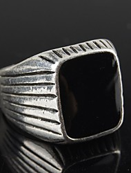 cheap -Vintage Contracted Silver Alloy Black Resin Men's Ring Christmas Gifts