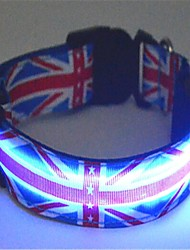 Dog Collar LED Lights Nylon Blue
