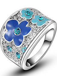 Roxi Exquisite Platinum Plated Blue Plum Blossom Statement Rings(1 Pc)