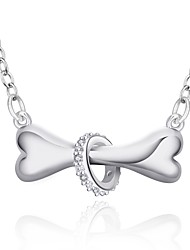 Fine Jewelry 925 Sterling Silver Jewelry Bone with Ring Pendant Necklace for Women