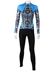 baratos -ILPALADINO Mulheres Manga Longa Calça com Camisa para Ciclismo - Azul/Preto Moto Conjuntos de Roupas, Secagem Rápida, Respirável