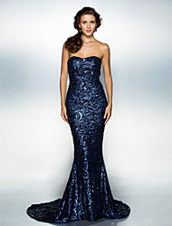 cheap -Mermaid / Trumpet Sweetheart Court Train Sequined Formal Evening Dress with Sequins by TS Couture®