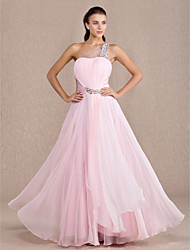 cheap -A-Line One Shoulder Floor Length Chiffon Stretch Satin Prom Dress with Ruched Criss Cross by TS Couture®