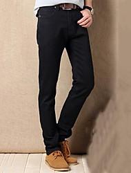 billige -Herre Bomuld Jeans Bukser Ensfarvet