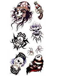 Недорогие -1шт король черепа водонепроницаемый татуировки образец формы наклейки Временные татуировки для боди-арта (18.5cm * 8.5cm)
