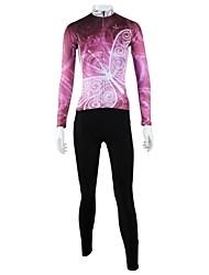 ILPALADINO Fahrradtrikots mit Fahrradhosen Damen Langarm Fahhrad Kleidungs-Sets Rasche Trocknung Windundurchlässig Atmungsaktiv Tasche