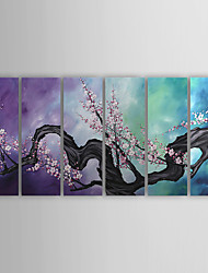 cheap -Hand-Painted Floral/Botanical More than Five Panels Canvas Oil Painting For Home Decoration