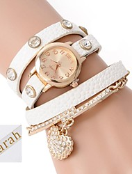 cheap -Personalized Gift  Women's Three-Layer Wrap PU Leather Bracelet Analog Engraved Watch  with Rhinestone