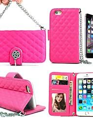 lunga catena di borsa rosa in pelle caso per tutto il corpo con la carta slot per portafoglio e riposare la pelle per iphone 4.7 6 (colori assortiti)