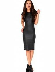 la mode robe de cuir d'unité centrale de femmes